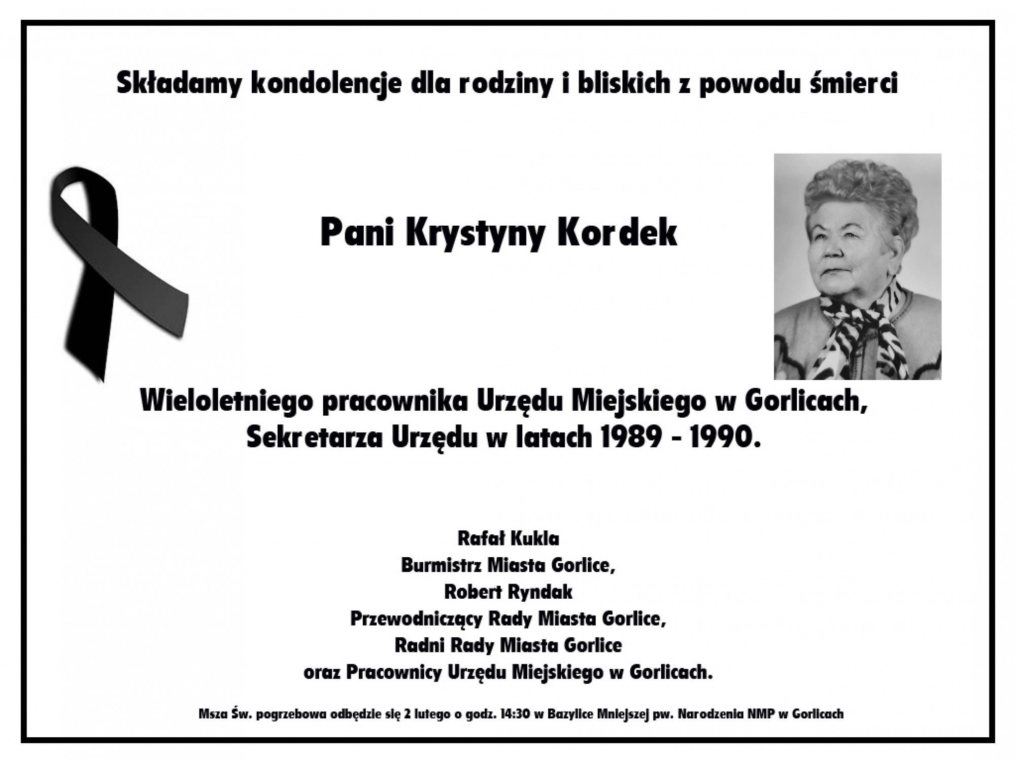 Nekrolog Krystyny Kordek.