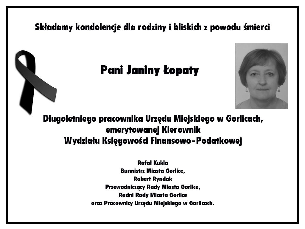 Nekrolog Janiny Łopaty.