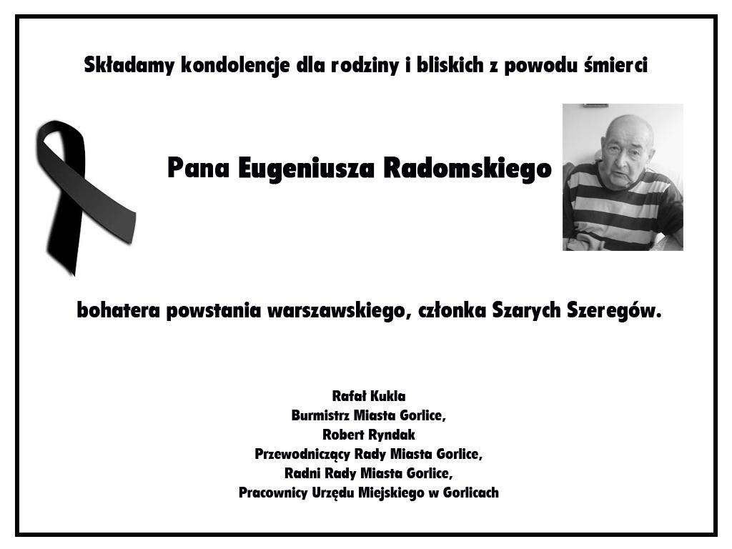 Nekrolog Eugeniusza Radomskiego.