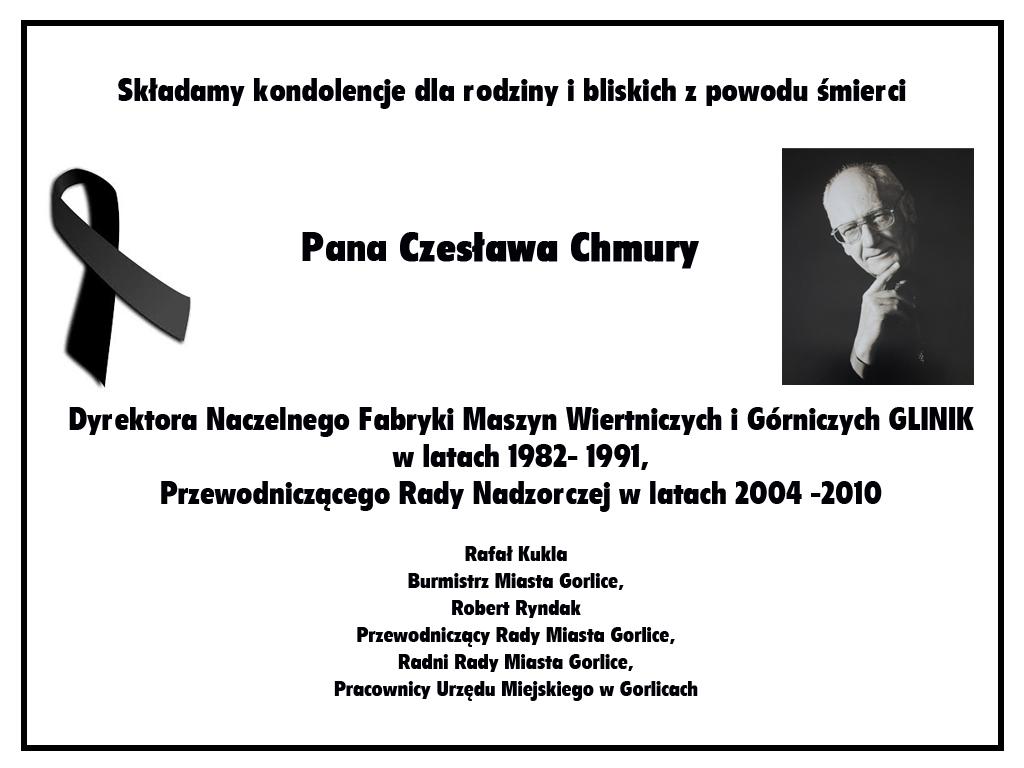 Nekrolog Czesława Chmury.