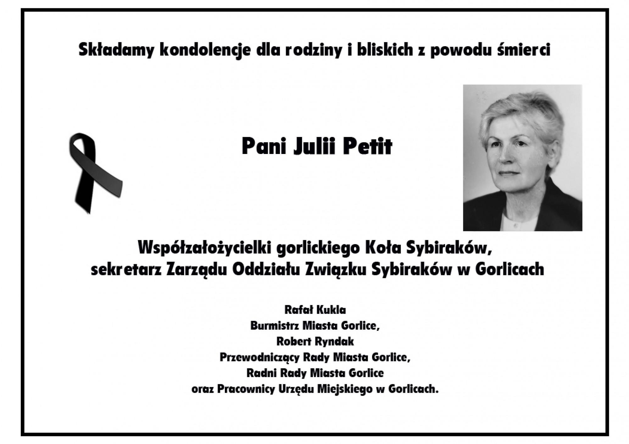 Nekrolog Julii Petit.